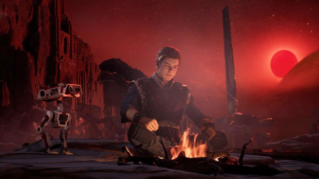 Star Wars Jedi Fallen Order Cal Sits By Camp Fire