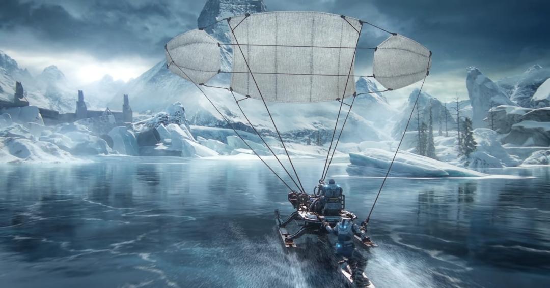Gears 5 Skiff on Frozen Lake